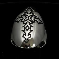 STERLING SILVER MENS SHIELD RING ABSTRACT COPTIC GOTHIC CROSS BLACK ANY SIZE