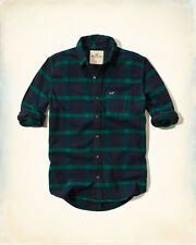 NWT Hollister by Abercrombie Mens Plaid Flannel Shirt Navy/Green 100%Cotton XL