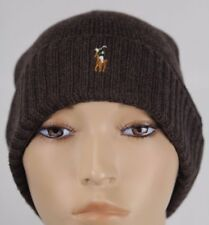 Polo Ralph Lauren Brown Merino Wool Cuff Beanie Hat Skull NWT