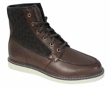Timberland Newmarket Moc Mens Boots Brown Leather Fabric Lace Up Shoes 9716B D11