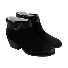 Clarks Gelata Siena Womens Black Suede Casual Dress Strap Boots Shoes