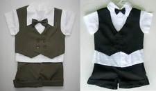 2 BABY BOY BUSINESS SUITS Shorts OUTFITS 1 Black & 1 Green Special Occasion Suit