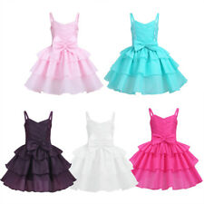 Baby Kids Satin Flower Girl Dress Bow Party Pageant Bridesmaid Wedding Formal