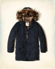 NWT Hollister by Abercrombie&Fitch Men's Faux Fur Lined Parka L Navy