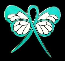 Teal Awareness Lapel Pin Ribbon Butterfly Cancer Cause Ovarian PTSD New