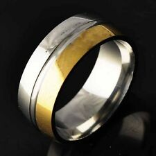 stainless steel solid gold Filled mens jewelry wedding band rings size 8 9 10 11
