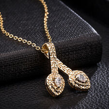 Lucky Crystal Hollow 24K Gold Filled Heart Pendant Long Necklace Chain