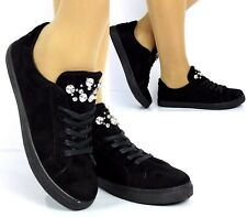 Womens Ladies Black Embellished Faux Suede Flat Trainers Lace Up Comfy Sneakers