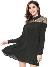 Allegra K Women Floral Embroidery Mesh Panel Long Sleeves A-line Dress