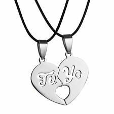2pcs Valentine's His and Her Stainless Steel I Love You Heart Pendant Necklace