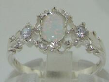 Solid 925 Sterling Silver Ladies Opal & Diamond Ring