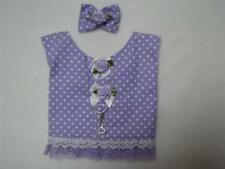 Lavender White Dot XS S Dbl Lace Dog Harness Vest Hair Bow Charm Yorkie Maltese