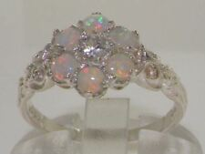 Ladies Solid 925 Sterling Silver Real Natural Diamond & Fiery Opal Daisy Ring