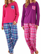 Ladies Slenderella PJs 100% Cotton Tartan Pyjamas Plain Top & Checked Bottoms