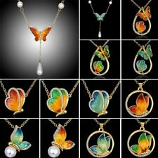 Vintage Women Wedding Butterfly Crystal Pearl Pendant Necklace Jewelry Gift Hot