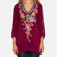 WINTER 2018 NWT JOHNNY WAS Roma Tunic Rose Blouse Embroidered Silk Top M  XL