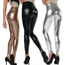 Womens High Waist Wet Look Faux Leather Shinny Leggings Jeans Jeggings