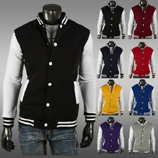 Mens Striped Varsity Jacket Casual Sport Letterman Button Baseball Coat Outfits