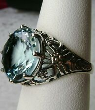 6ct *Blue Aquamarine* Solid Sterling Silver Crown Filigree Ring {Made To Order}