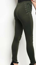 Ladies Olive Side Lace Up Skinny Pants - New