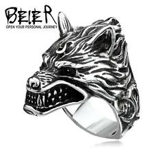 Cool 3D Rave Vintage Punk Rock & Roll Man's Stainless steel Ring - wolf head