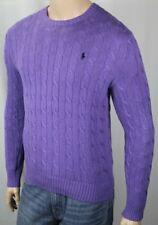 Polo Ralph Lauren Purple Crewneck Cable-knit Sweater Navy Blue Pony NWT