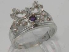 Solid Sterling Silver Natural Amethyst & Pearl Coronet Crown Band Ring