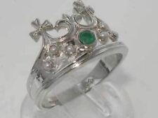 Solid Sterling Silver Natural Emerald & Pearl Coronet Crown Band Ring