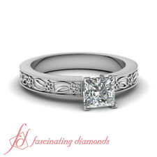.45 Carat Princess Cut VS1-F Color Diamond Solitaire Vintage Engagement Ring GIA