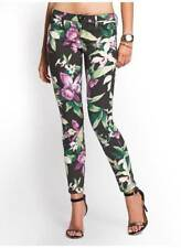 NEW WOMENS GUESS KATE MOD SUNFLOWER SKINNY PINK FLORAL SATEEN PANTS JEANS 12 32