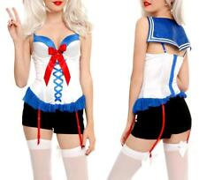 M or L Sexy Sailor Pin Up Girl Rockabilly Retro Cosplay Costume Bustier Corset