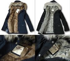 NWT Hollister by Abercrombie&Fitch Faux-Fur Stretch Cozy-Lined Parka Jacket Coat