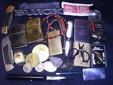 Vintage Junk Drawer Lot Arrowheads Betty Boop Watch,Knives,Lighters,Stamps,Coins