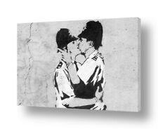 READY TO HANG CANVAS Cops Kissing Banksy Framed Print For Living Room Giclee