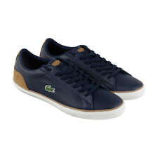 Lacoste Lerond 118 1 Cam Mens Blue Leather Lace Up Sneakers Shoes