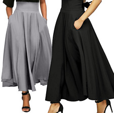 Women High Waist Long Skirt Dress Pleated A Line Front Slit Belted Maxi Skirt