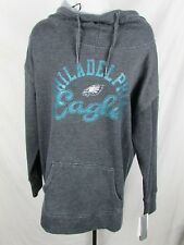 Philadelphia Eagles Women Blended Gray Drawstring Funnel Pullover Hoodie NFL A7