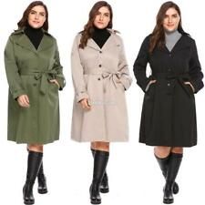 New Women Casual Hooded Long Sleeve Solid Single Breasted Trench Coat RR6