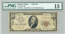 $10 Series 1929 type 1 Rogers, TX National Banknote PMG Fine 15 Central Texas
