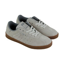 Etnies The Scam Mens White Suede Lace Up Lace Up Sneakers Shoes