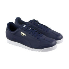 Puma Roma Classic Perf Mens Blue Leather Lace Up Lace Up Sneakers Shoes