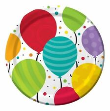 "Bright Shimmering Balloons Birthday Party Plates 8 Ct Dessert 7"" or Dinner 9"""