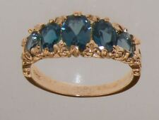 9ct Rose Gold Natural London Blue Topaz Womens Band Ring - Sizes J to Z