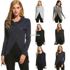 Women Cowl Collar Long Sleeve Asymmetrical Hem Knitted Zip Front Sweater RR6
