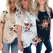 Fashion Casual Floral Printed Short Sleeve Women T-Shirts Summer O-Neck Blouse