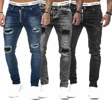 Men's Destroyed Patch Jeans Trousers Basic Stretch Slim Fit w28-w36
