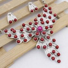 18k Gold Plated Acrylic Crystal Red Necklace Earring Jewerly Sets G795