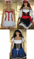 Adult Sexy Nurse Pirate Beer Girl Fancy Dress Halloween Costume M /L One Size