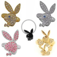Playboy Ring Size S 5 6 7.5 Gold Band Silver Pink Swarovski Crystal Women Bunny