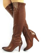 New Womens Faux Leather Stiletto Heel Knee High Ladies Pointed Boots Size 3-8